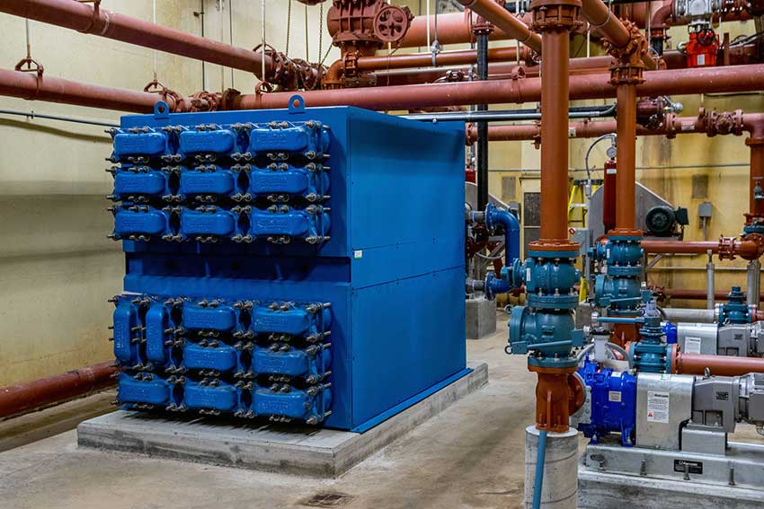Digester heat exchanger Cortland New York wastewater treatment plant